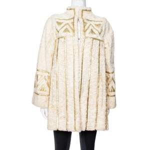 Dior Vintage Cream Fur Gold Paneled Coat L