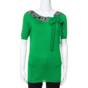 Dior Green Cashmere & Silk Knit Embellished Neck Top M