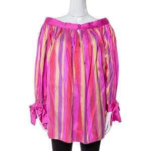 Dior Multicolor Striped Raw Silk Gathered Blouse M