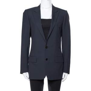Dior Navy Blue Wool Tailored Blazer L