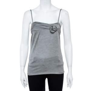 Dior Grey Silk Knit Floral Applique Detail Sleeveless Top S