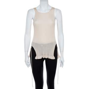 Christian Dior Beige Rib Knit Front Tie Detail Sleeveless Top S