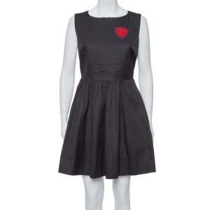 Dior Black Gabardine Heart Embroidered A Line Dress M