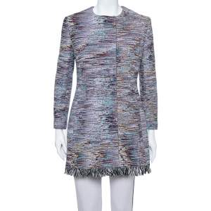 Dior Multicolor Textured Cotton Frayed Hem Mid Length Coat M