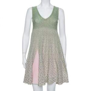 Dior Green & Pink Lurex Knit Flared Tent Dress S
