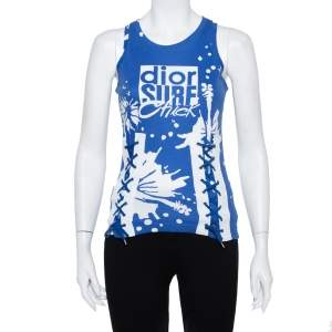 Christian Dior Blue Surf Chick Printed Cotton Racer Back Detail Top S