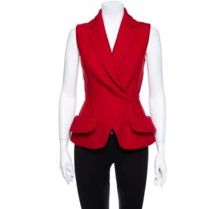 Christian Dior Red Wool Sleeveless Blazer M