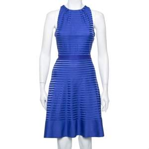 Christian Dior Blue Silk Knit Cross Back Detail Sleeveless Dress L