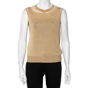 Christian Dior Gold Lurex Knit Bead Embellished Sleeveless Top L