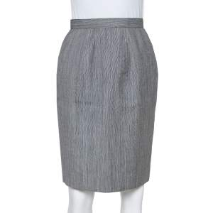 Christian Dior Grey Wool High Waist Pencil Skirt M