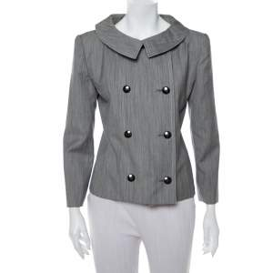 Christian Dior Grey Wool Double Breasted Vintage Blazer M