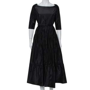 Christian Dior Black Silk Belted Tiered Maxi Dress L