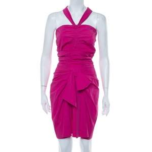 Christian Dior Pink Cotton Halter Neck Bow Detail Ruched Mini Dress S