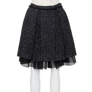 Christian Dior Black Lurex Tweed Pleated Mini Skirt M