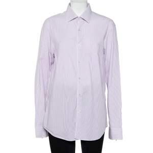 Christian Dior Purple Striped Cotton Button Front Shirt L