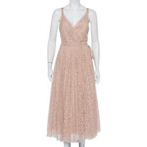 Christian Dior Light Pink Lace Sleeveless Midi Wrap Dress S