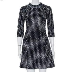Christian Dior Black Tweed A-Line Mini Dress S