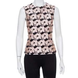 Christian Dior Black & Pink Jacquard Sleeveless Top M