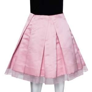 Christian Dior Pink Sateen Silk Trim Box Pleated Mini Skirt M