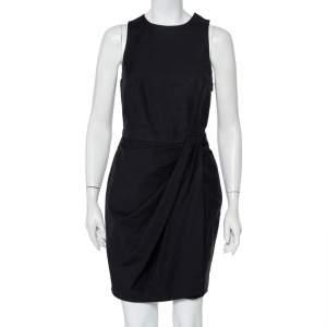 Christian Dior Black Cotton Draped Sleeveless Faux Wrap Mini Dress M