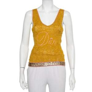 Christian Dior Mustard Yellow Knit Contrast Trim Sequin Detail Tank Top M