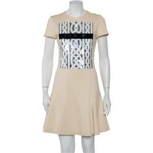 Christian Dior Cream Wool Sequin Embellished Flared Bottom Dress M
