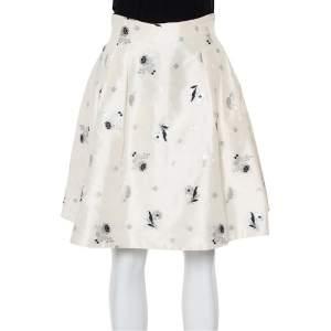 Christian Dior Cream Lurex Embroidered Silk Pleated Skirt S