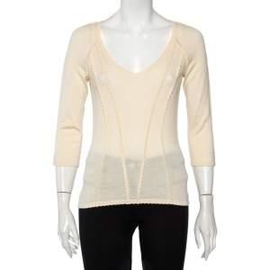 Christian Dior Cream Cashmere Scallop Detail Sweater Top M