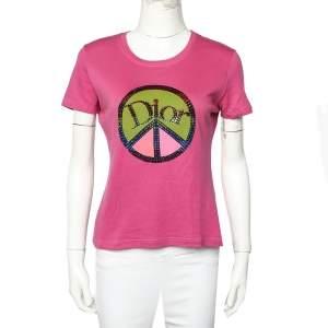 Christian Dior Boutique Pink Cotton Embellished Logo  Roundneck T-Shirt L