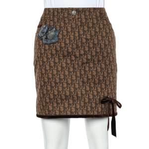 Christian Dior Brown Trotter Printed Denim Applique Detail Mini Skirt M
