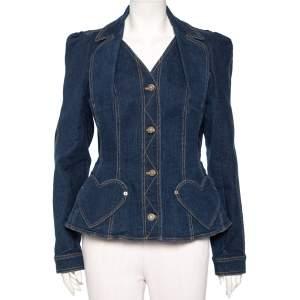 Christian Dior Navy Blue Floral Embroidered Denim Button Front Jacket L
