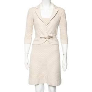 Christian Dior Beige Textured Knit Mini Dress & Cardigan M
