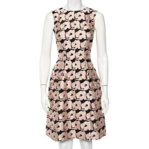 Christian Dior Pink & Black Jacquard Sleeveless Midi Dress S