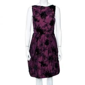 Christian Dior Purple Floral Flocked Silk Pleated Mini Dress S