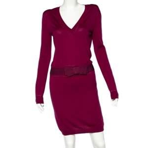 Christian Dior Magenta Cashmere & Silk Bow Trim Sweater Dress M