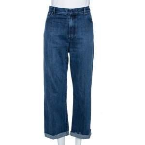 Dior Indigo Washed Denim Logo Selvedge Boyfriend Jeans L