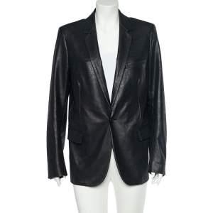 Dior Black Faux Leather Button Front Jacket XXL