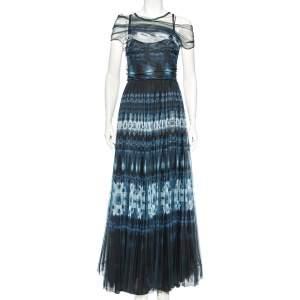 Dior Navy Blue Tie Dye Printed Tule Draped Off Shoulder Gown M