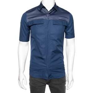 Dior Navy Blue Cotton Contrast Panel Detailed Short Sleeve Shirt M