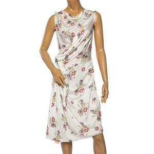 Dior White Floral Printed Jersey Draped Waist Tie Detail Midi Dress M