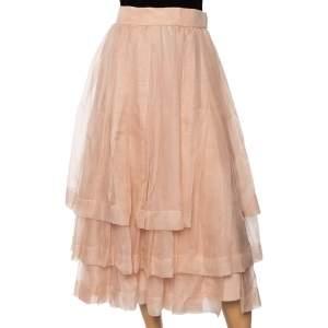 Dior Light Pink Silk Pleated Overlay Tiered Midi Skirt M