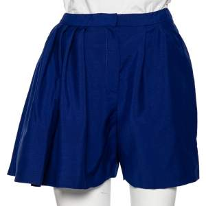 Dior Blue Wool One Side Pleated Overlay Detailed Shorts M