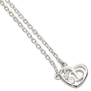 Dior Silver Heart Stone Pendant Necklace