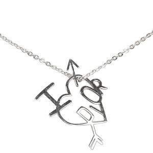 Dior Silver Metal I Love Dior Heart Arrow Pendant Necklace