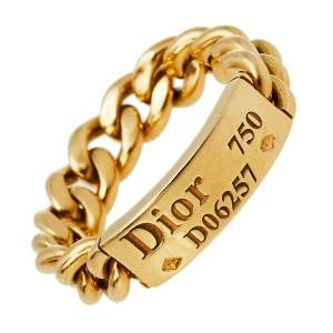 Dior 18K Yellow Gold Chain Link Ring Size 57