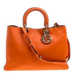 Dior Orange Leather Large Diorissimo Shopper Tote