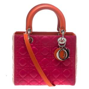 Dior Multicolor Leather Medium Lady Dior Tote