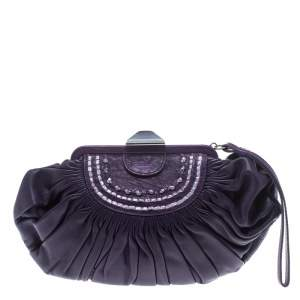 Dior Purple Pleated Leather Frame Clutch