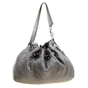 حقيبة ديور أربطة جلد مبطنة كاناج رمادية