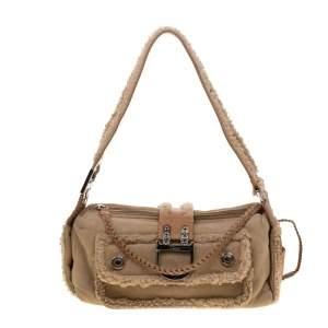 Dior Light Brown Suede and Wool Flight Shoulder Bag